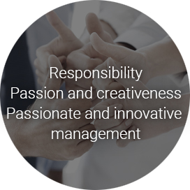 Responsibility Passion and creativeness Passionate and innovative management